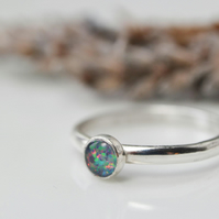 Sterling silver opal triplet ring