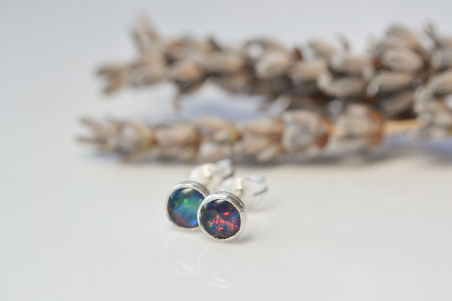 Dark opal earrings