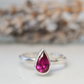 Ruby pear birthstone ring in sterling silver