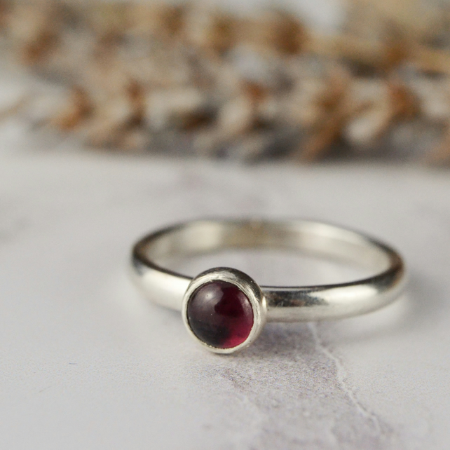 Garnet - January birthstone sterling silver stacking ring