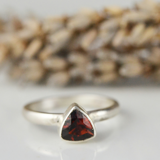 Garnet trillion sterling silver stacking ring - January birthstone