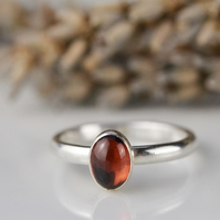 Oval cabochon garnet sterling silver stacking ring