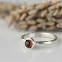 Rose cut garnet sterling silver stacking ring