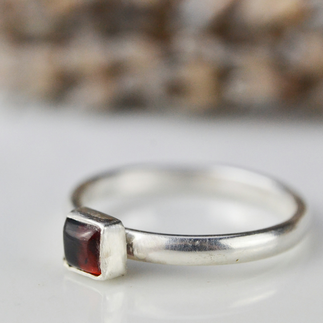 Square (cushion) garnet - January birthstone sterling silver stacking ring