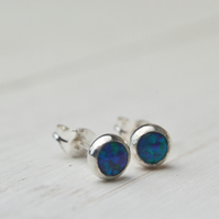 Dark blue green opal stud earrings