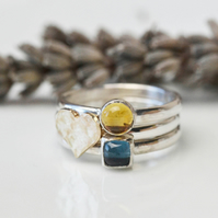 Stacking ring set with citrine, london blue topaz and 9ct gold heart
