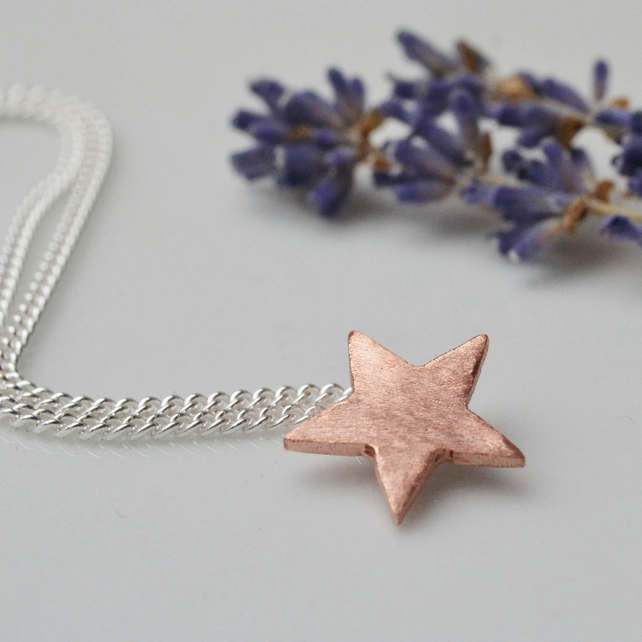 Copper star necklace