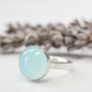 Sea green agate cabochon ring