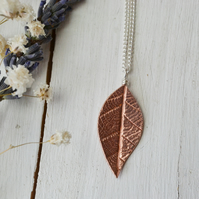 Copper autumn leaf pendant