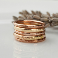 Copper and rolled gold stacking ring set
