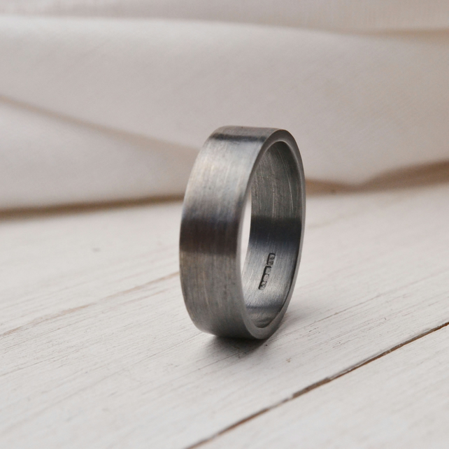 Oxidised and brushed sterling silver wedding ring