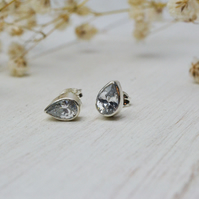 Pear drop shaped cubic zirconia silver stud earrings