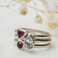 Birthstone stacking ring set