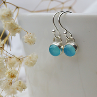 Sea Blue agate handmade dangle earrings