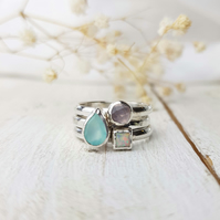 Stacking ring set with sea blue agate, opal and rose quartz