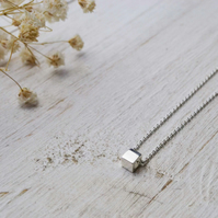 Simplicity silver cube necklace