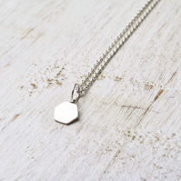 Silver hexagon geometric necklace