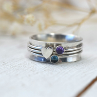 Spinner ring, worry ring, or fidget ring with 3 bands