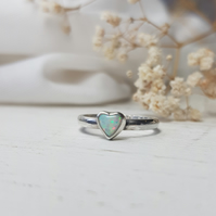 Heart shaped opal ring in sterling silver