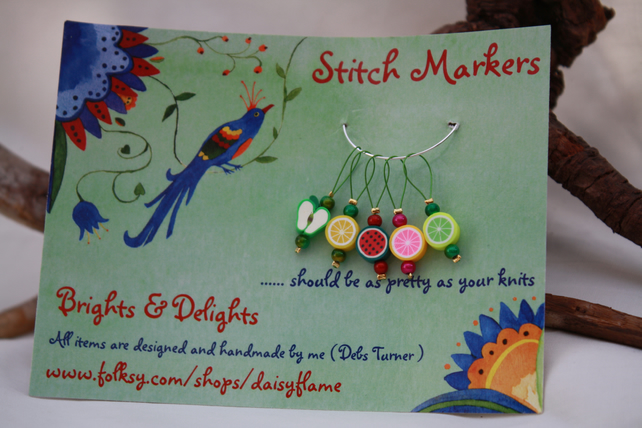 Knitting stitch markers apple & citrus fruits  x5