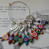 Crochet markers round flowers