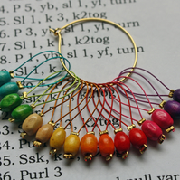 Wooden rainbow stitch markers