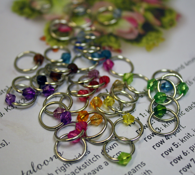 40 Knitting stitch markers rings - Folksy
