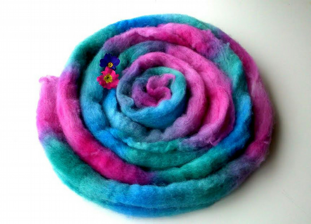 Hand dyed spinning fibre combed Shetland wool top Galaxy