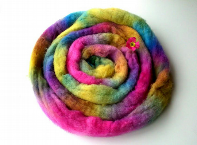 Hand dyed spinning fibre combed Shetland wool top Unicorn Mane