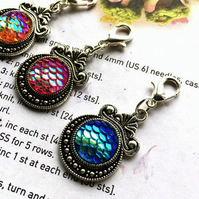 3 Progress stitch markers dragon tears