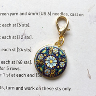 Progress stitch markers enamel flowers