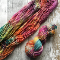 Hand dyed knitting yarn 4 ply Merino Sparkle Autumn Moorland 100g