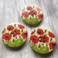 Wild poppies wooden buttons x6