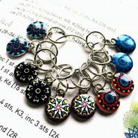 10 Knitting stitch markers Forever flowers