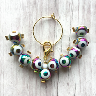 10 Knitting stitch markers Holo