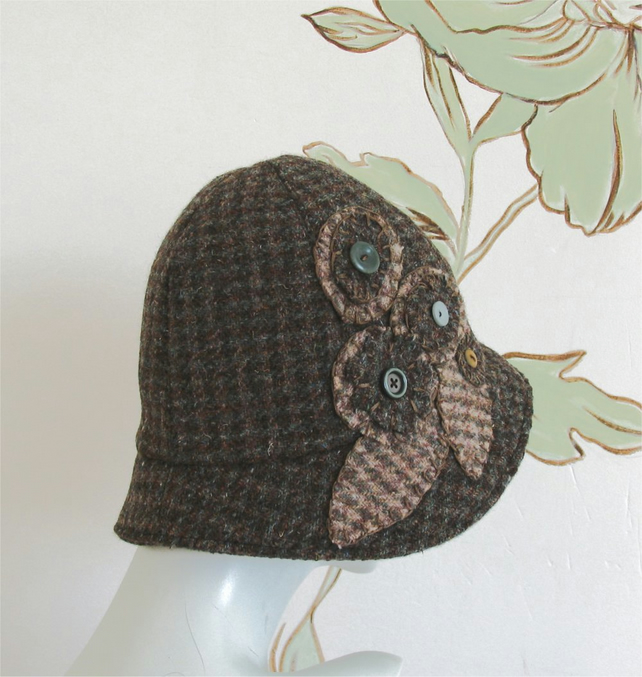 Harris Tweed cloche hat in browns with applique and button detail