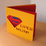'Supermum!' Hand Cut Mother's Day Card, Yellow