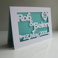 Personalised Hand Cut Anniversary   Wedding Card