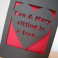 Valentine's Personalised Hand Cut 'Sitting In A Tree'  Heart Card