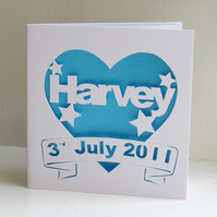 Personalised Birth or Christening Hand Cut Heart Card