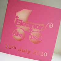 Personalised Hand Cut Birth / Christening Card