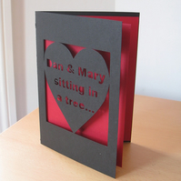 Personalised Hand Cut 'Sitting In A Tree'  Heart Card