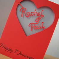 Personalised Valentine's, Anniversary or Wedding Cut-Out Heart Card