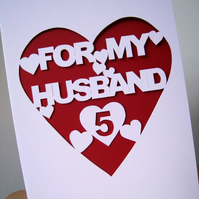 Anniversary Card, Hand Cut and Personalised