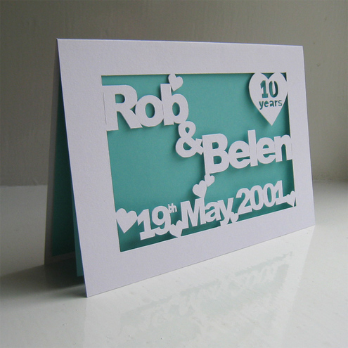 Personalised Hand Cut Anniversary /  Wedding Card