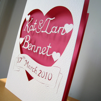 Personalised Cut Out Wedding / Anniversary Card with Date, Script Font