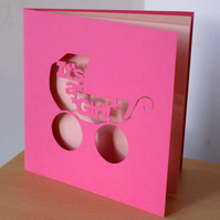 'It's a Girl!' Hand Cut Greetings Card