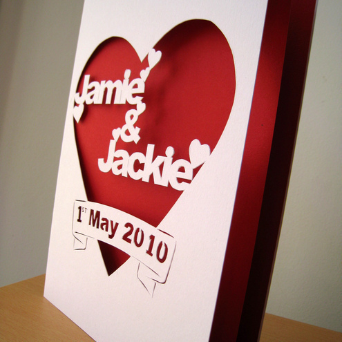 Personalised Cut Out Wedding / Anniversary Card with Date, Bold Design