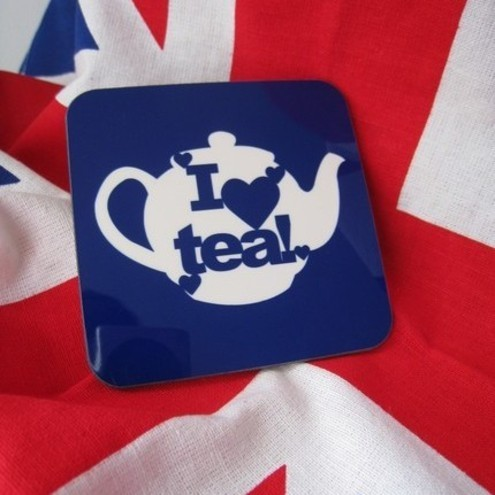 'I ♥ Tea!' Coaster, Blue