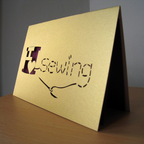 I love sewing! Hand Cut Greetings Card
